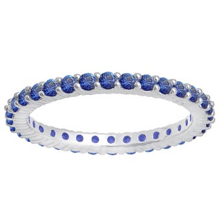 14k White Gold 1ct Round Blue Sapphire Eternity Band