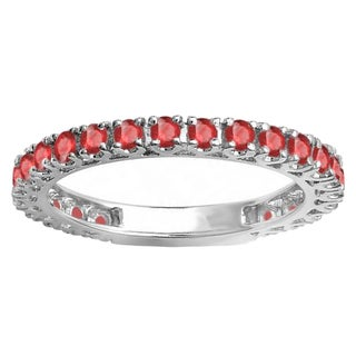 14k White Gold 1ct Round Ruby Eternity Sizeable Anniversary Wedding Stackable Band