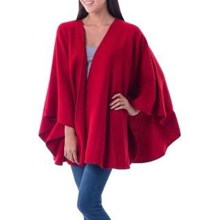 Handmade Alpaca Blend 'Scarlet Sky' Ruana Cloak (Peru)