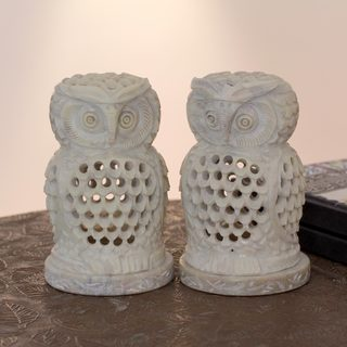 Set of 2 Handcrafted Natural Soapstone 'Lucky Owls' Candleholders (India)