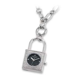 Versil Ladies Charles Hubert Stainless Steel Black Dial Pendant Watch