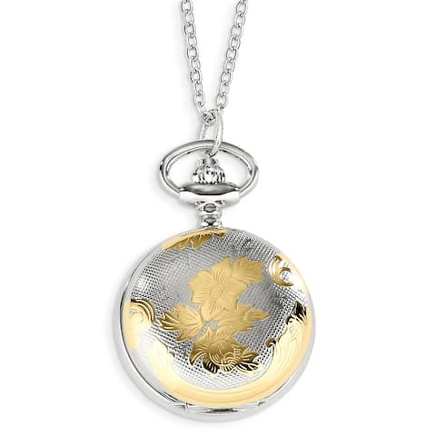 Charles Hubert Two-tone Floral Design Pendant White Dial Watch by Versil - Yellow and White
