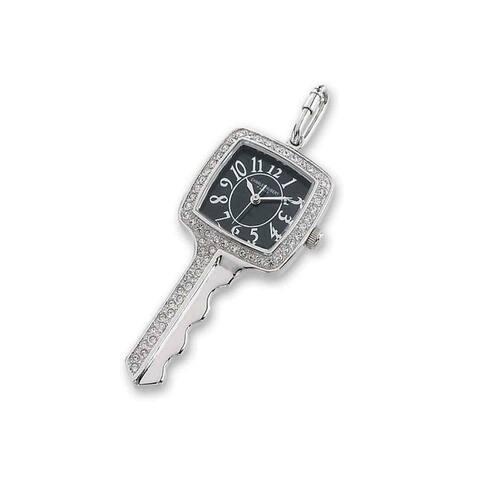 Versil Ladies Charles Hubert Stainless Steel Black Dial 24mm Pendant Watch