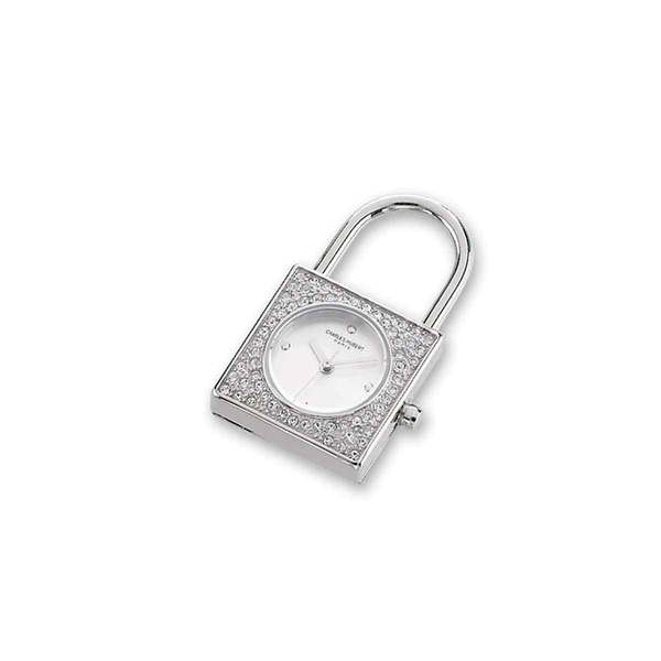 Ladies Charles Hubert Stainless Steel White Dial Padlock Pendant Watch