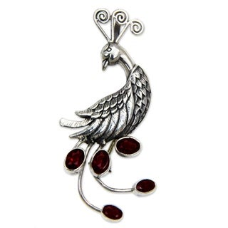 Handcrafted Sterling Silver 'Peahen in Love' Garnet Pendant (Indonesia)