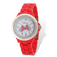 Disney Stainless Steel Women's Minnie Mouse Bow Design Red Band Watch