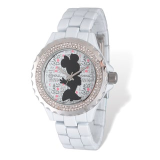 Disney Stainless Steel Women's Minnie Mouse Design White Band Watch