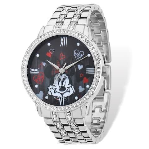 Disney Women's Stainless Steel Minnie Mouse Design Bracelet Watch - White