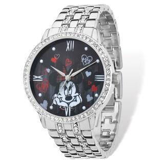 Disney Stainless Steel Women's Minnie Mouse Design Silver-tone Bracelet Watch