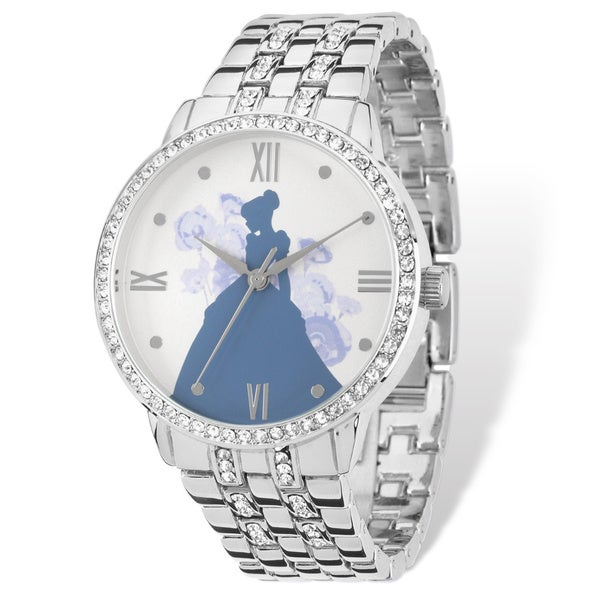 Disney Women's Stainless Steel Cinderella Silhouette Design Silver-tone Watch