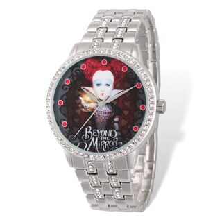 Disney Stainless Steel Women's Queen of Hearts Design Silver-tone Band Watch