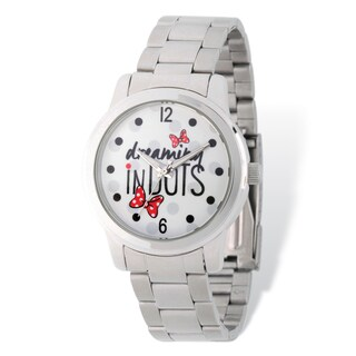Disney Stainless Steel Women's Dreaming in Dots Design Metal Band Watch