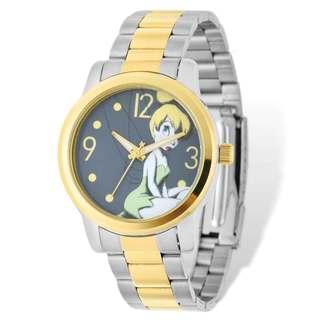 Disney Stainless Steel Women's Tinker Bell Design Two-tone Watch