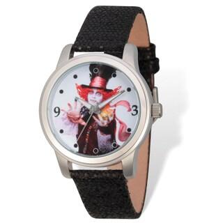 Disney Stainless Steel Women's Mad Hatter Design Black Band Watch