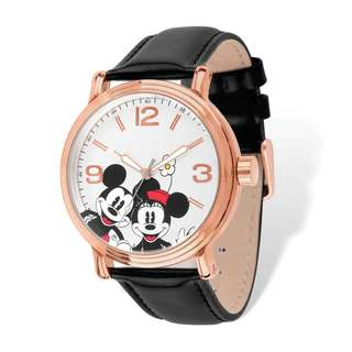 Disney Women's Stainless Steel Mickey Mouse Design Rose-tone Black Leather Watch