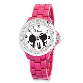 Disney Women's Stainless Steel Mickey Mouse Design Pink Band with Crystal Bezel Watch