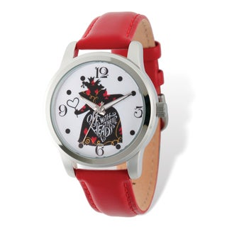 Disney Stainless Steel Women's Off With Their Heads Design Red Band Watch
