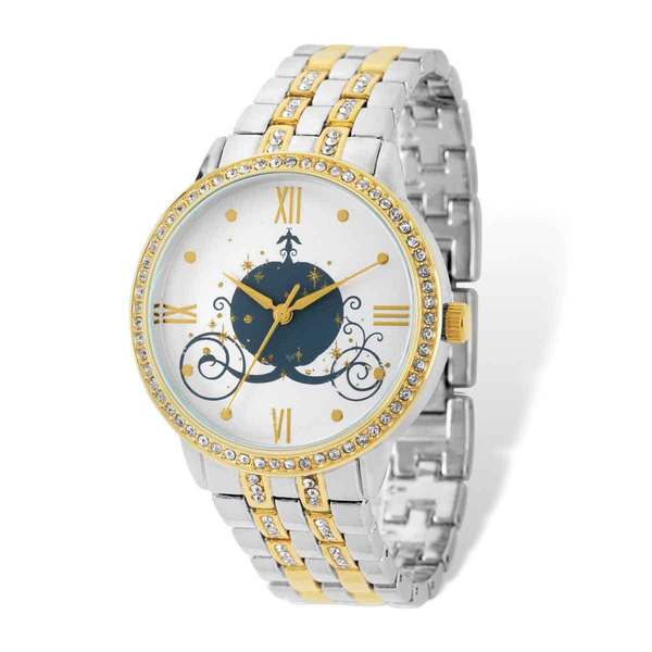 Disney Women's Cinderella Coach Design Two-tone Watch by Versil - Gold-tone