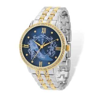 Disney Adult Two-tone Blue Dial Cinderella Clock/Slipper Watch by Versil - Gold