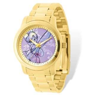 Disney Stainless Steel Women's Tinker Bell Design Gold-tone Bracelet Watch
