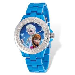 Disney Stainless Steel Women's Frozen Design Blue Bracelet Crystal Bezel Watch