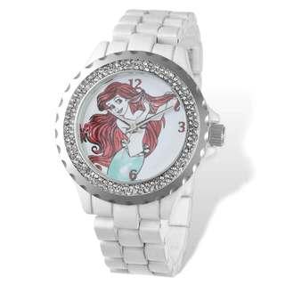 Disney Adult Ariel White Bracelet Crystal Bezel Watch