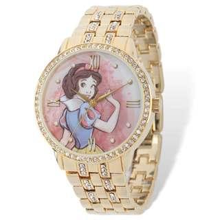 Disney Stainless Steel Women's Snow White Design Gold-tone Bracelet Watch
