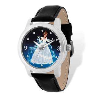Disney Stainless Steel Women's Cinderella Design Black Leather Watch