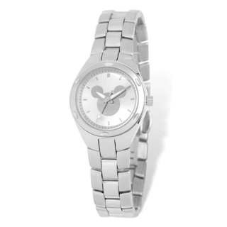 Disney Women's Stainless Steel Mickey Mouse Silhouette Design Silver Dial Watch