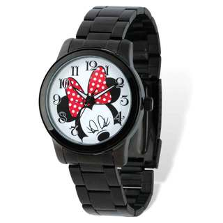 Disney Stainless Steel Women's Minnie Mouse Design Black Bracelet Watch
