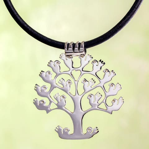 Handmade Tree of Birds Sterling Silver Leather Necklace (Mexico)