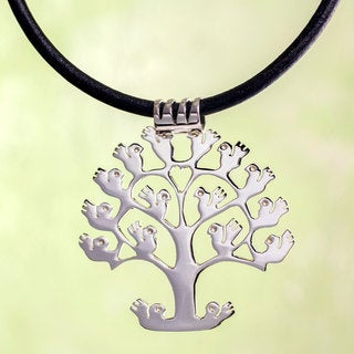Handmade Sterling Silver 'Tree of Birds' Leather Necklace (Mexico)