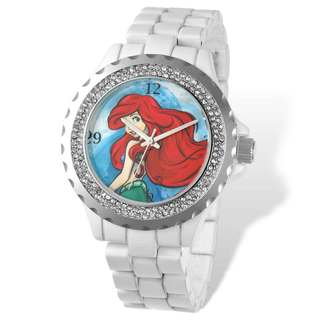 Disney Women's Stainless Steel Ariel Design White Bracelet Crystal Bezel Watch