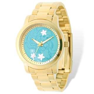 Disney Stainless Steel Women's Ariel Design Gold-tone Bracelet Watch