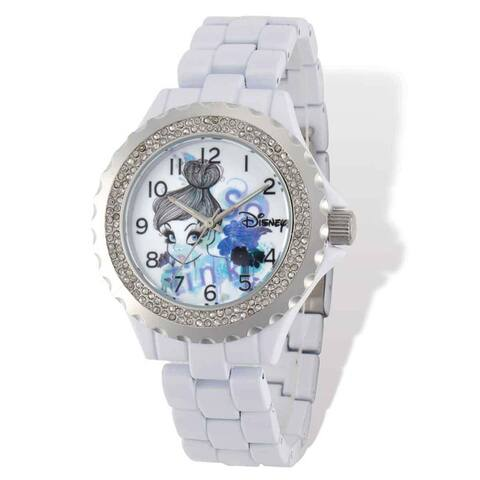 Disney Stainless Steel Women's Tinker Bell Design White with Crystal Bezel Watch