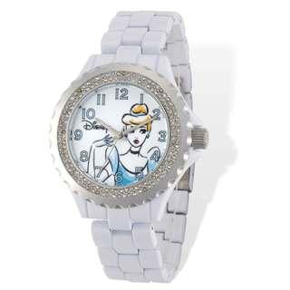 Disney Stainless Steel Women's Cinderella Design White with Crystal Bezel Watch
