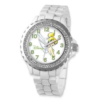 Disney Women's Adult Size White Band with Crystal Bezel Tinker Bell Watch