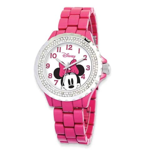 Disney Women's Stainless Steel Minnie Mouse Design Pink Band with Crystal Bezel Watch - White