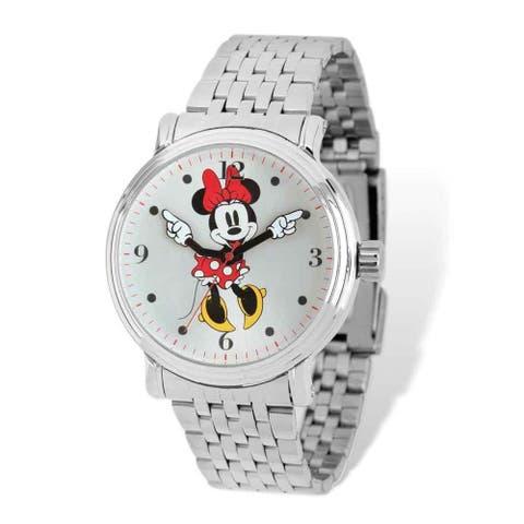 Disney Women's Stainless Steel Minnie Red Dress Design Watch - Silver