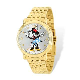 Disney Adult Size Gold-tone Minnie Blue Dress Watch