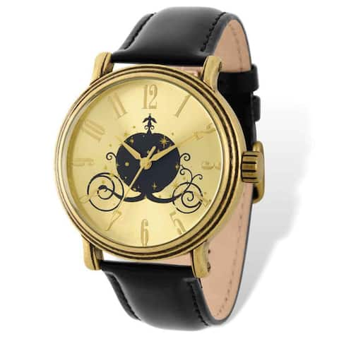Disney Stainless Steel Women's Antique Gold-tone Coach Design Black Leather Watch by Versil - Yellow