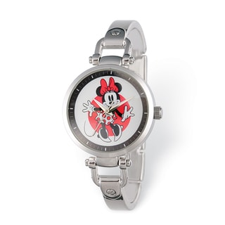 Disney Stainless Steel Women's Minnie Mouse Design Silver-tone Watch