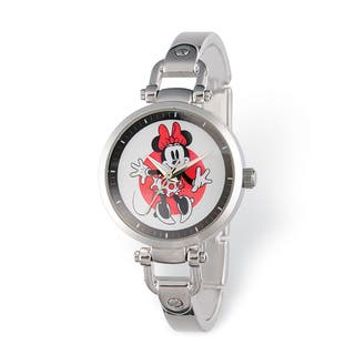 Disney Stainless Steel Women's Minnie Mouse Design Silver-tone Watch|https://ak1.ostkcdn.com/images/products/13950374/P20580227.jpg?impolicy=medium