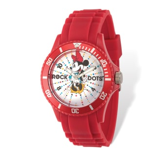 Disney Adult Size Stainless Steel Minnie Mouse Rock Dots Design Red Band Watch