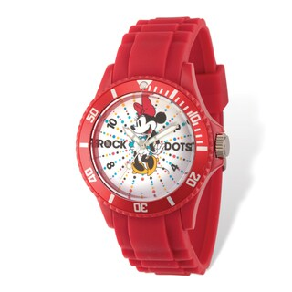 Disney Stainless Steel Women's Minnie Mouse Rock Dots Design Red Band Watch