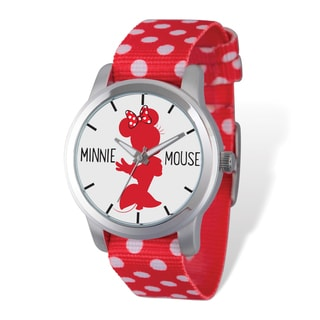 Disney Stainless Steel Women's Minnie Mouse Red Design Polka Dot Band Watch