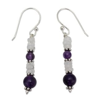 Handcrafted Sterling Silver 'Morning Clouds' Amethyst Rainbow Moonstone Earrings (India)