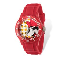 Disney Stainless Steel Women's Minnie Mouse Design Red Band Watch