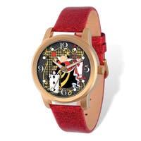 Disney Stainless Steel Women's Alice in Wonderland Design Red Band Watch