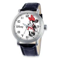 Disney Stainless Steel Women's Minnie Mouse Design Black Leather Strap Watch